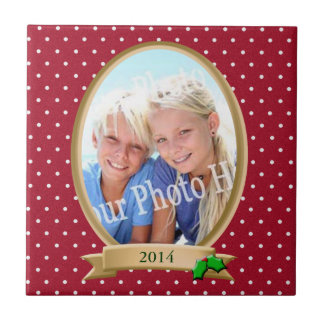 Red Polka Dots and Holly Photo Frame Small Square Tile