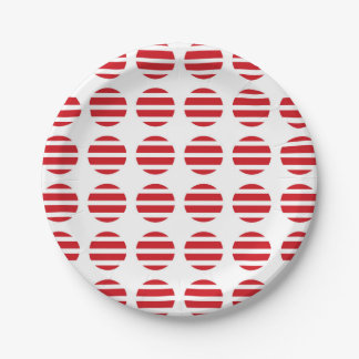 Red Polka Dots and Stripes Paper Plate