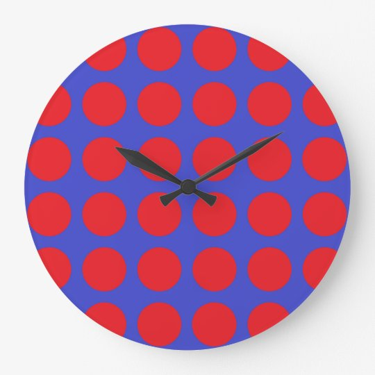 Red Polka Dots Blue Large Clock