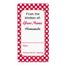 Red Polka Dots Custom Kitchen Baking Canning Label