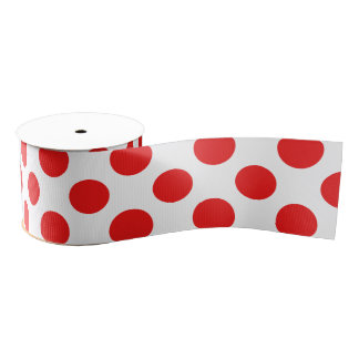 Red Polka Dots Grosgrain Ribbon