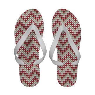 Red Polka Dots In Zig Zag Pattern Sandals
