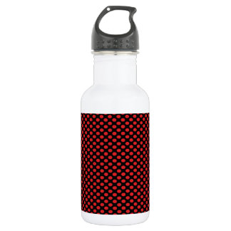 Red Polka Dots on Black 532 Ml Water Bottle