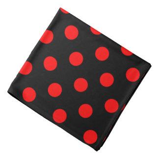 Red Polka Dots on Black Bandana