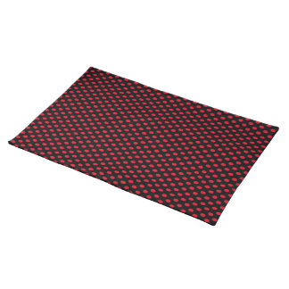 Red Polka Dots on Black Placemat