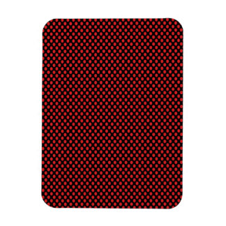 Red Polka Dots on Black Rectangular Photo Magnet
