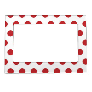 Red Polka Dots On White Background Magnetic Frame