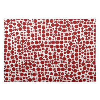 Red Polka Dots on White Background Place Mats