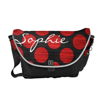 red polka dots over perforated metal with text courier bag