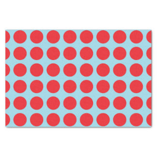 Red Polka Dots Pastel Blue Tissue Paper
