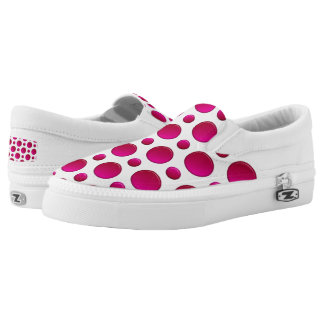 Red polka dots pattern slip on shoes
