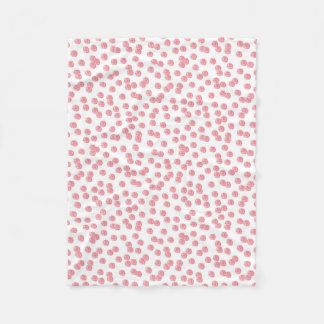 Red Polka Dots Small Fleece Blanket