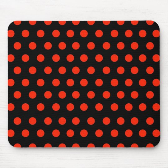 Red Polka Dots with black background Mouse Mat