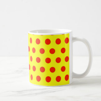 Red Polka dots with yellow background Coffee Mug