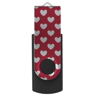Red polka hearts USB flash drive
