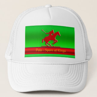 Red Polo Pony and Rider on red chrome-look Trucker Hat