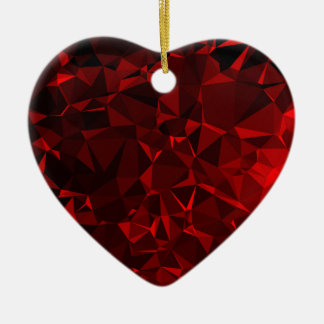 Red polygonal background ceramic heart decoration