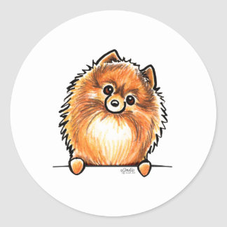 Red Pomeranian Paws Up Classic Round Sticker