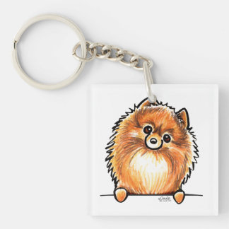 Red Pomeranian Paws Up Key Ring