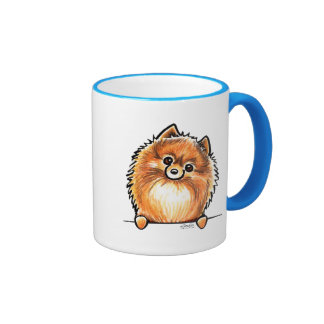 Red Pomeranian Paws Up Mugs