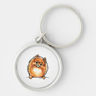 Red Pomeranian Paws Up Silver-Colored Round Key Ring