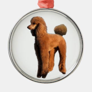 red poodle Silver-Colored round decoration