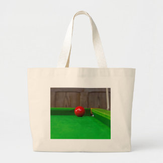 Red pool ball on a pool table canvas bag