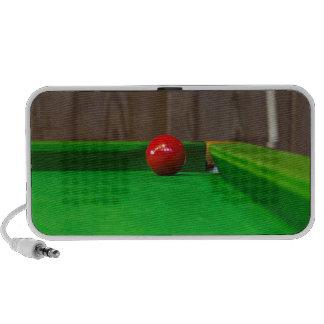 Red pool ball on pool table speaker
