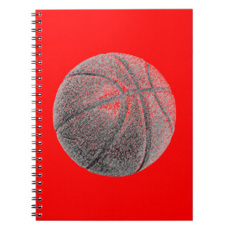 Red Pop Art Pencil Effect Basketball Notebook