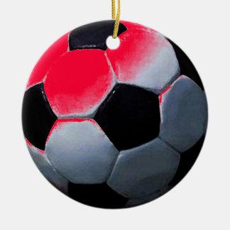 Red Pop Art Soccer Ball Christmas Ball Ornament
