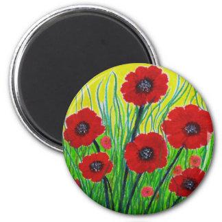 Red Poppies 6 Cm Round Magnet
