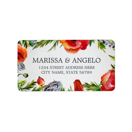 Red Poppies Address Label