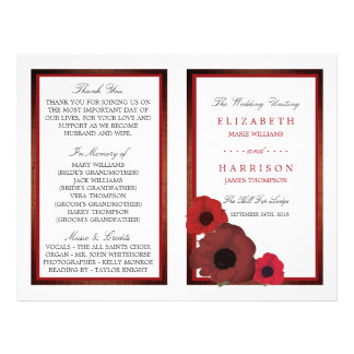 Red Poppies and Burlap Wedding Bi-fold Program Flyer