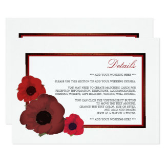 Red Poppies and Burlap Wedding Detail Card