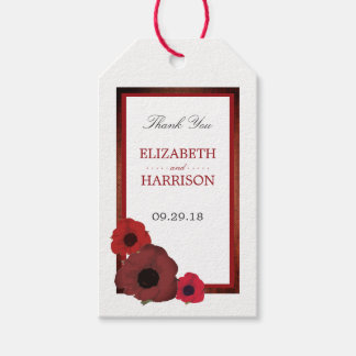 Red Poppies and Burlap Wedding Gift Tags
