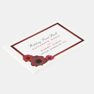 Red Poppies and Burlap Wedding Guest Book