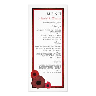 Red Poppies and Burlap Wedding Menu