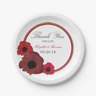 Red Poppies and Burlap Wedding Paper Plate