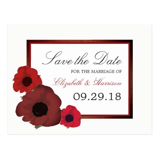 Red Poppies and Burlap Wedding Save The Date