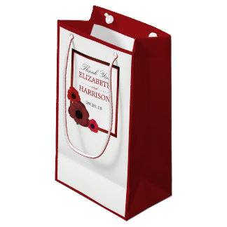 Red Poppies and Burlap Wedding Small Gift Bag