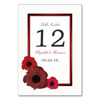Red Poppies and Burlap Wedding Table No. Card