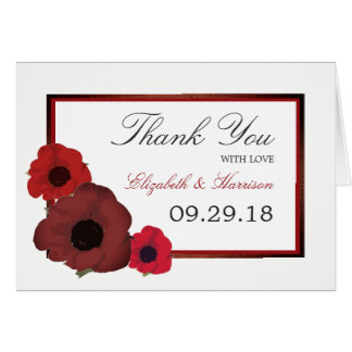 Red Poppies and Burlap Wedding Thank You Card