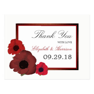 Red Poppies and Burlap Wedding Thank You Postcard