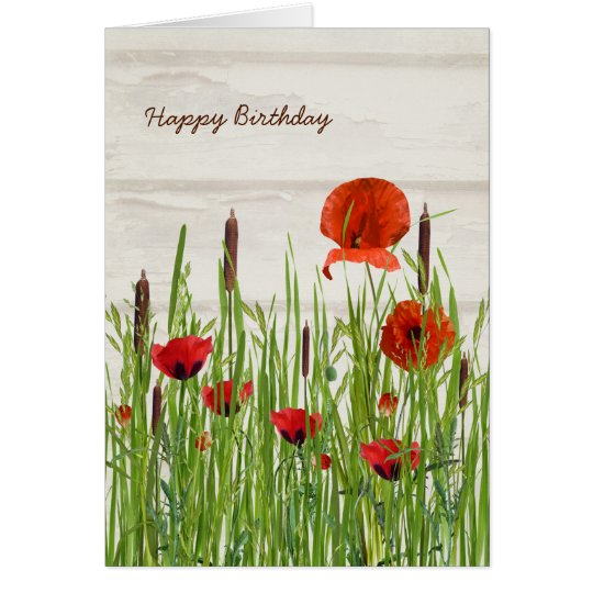 red poppies and cattails birthday card