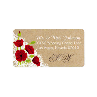 Red Poppies and Lace Rustic Wedding Label Address Label