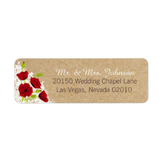 Red Poppies and Lace Rustic Wedding Label Return Address Label