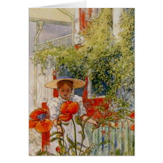 Red Poppies and Little Girl Card