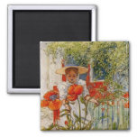 Red Poppies and Little Girl Square Magnet