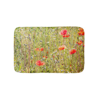 Red Poppies and Wildflowers Floral Field Bath Mats