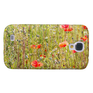 Red Poppies and Wildflowers Floral Field Galaxy S4 Case